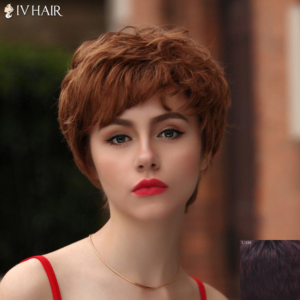 Fashion Short Side Bang Bouffant Curly Siv Hair Capless Human Hair Wig For Women - RED MIXED BLACK