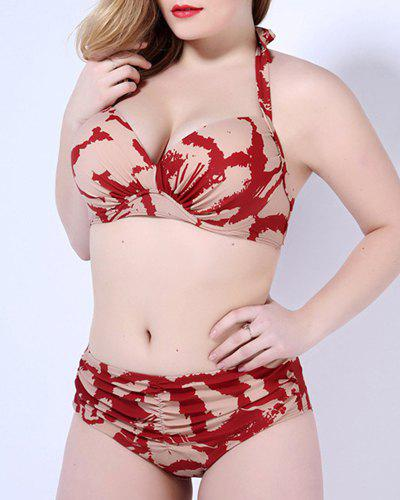 Femmes Attractive  's Plus Size Halter Neck Printed Bikini - Rouge 4XL