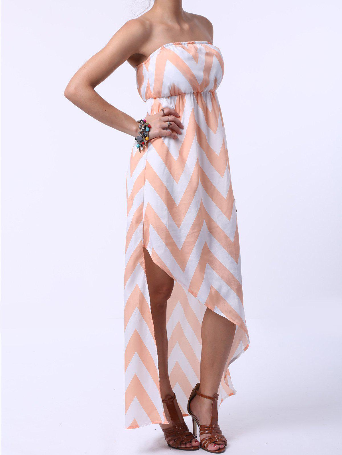 Stylish Women's Strapless Zigzag Maxi Dress - COLORMIX M