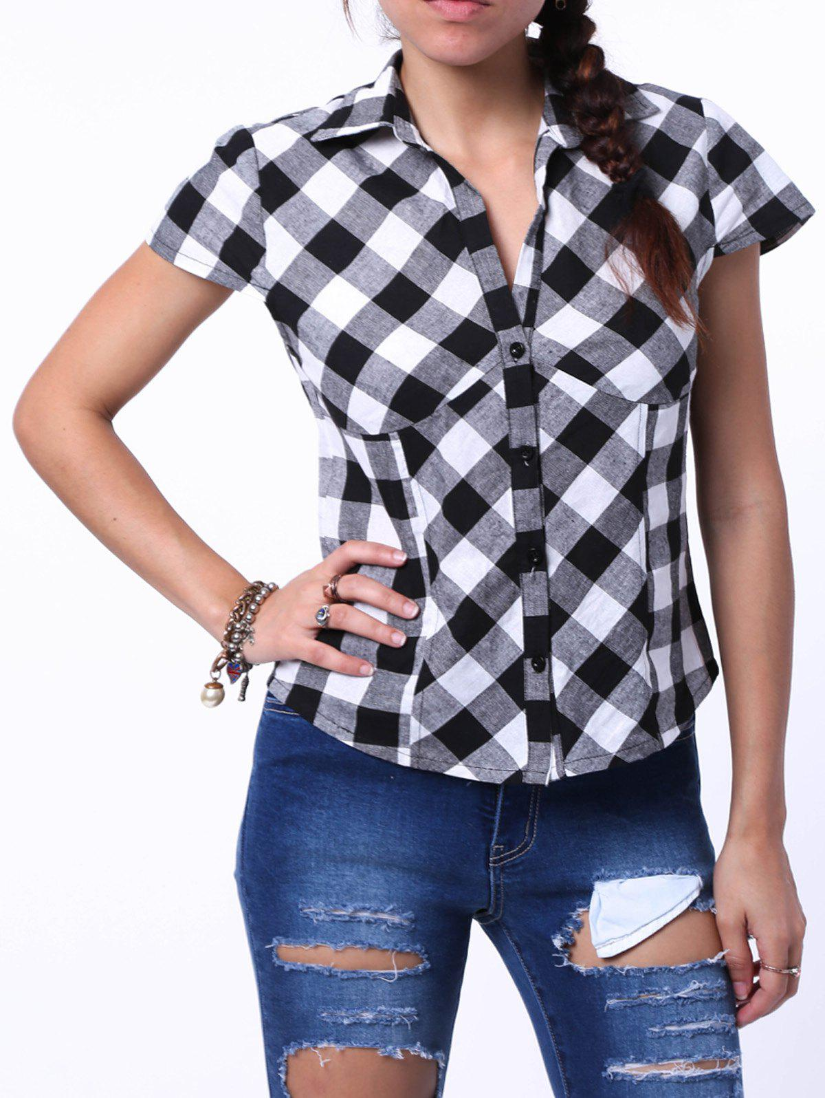 Stylish Women's Shirt Collar Short Sleeve Plaid Shirt - BLACK XL