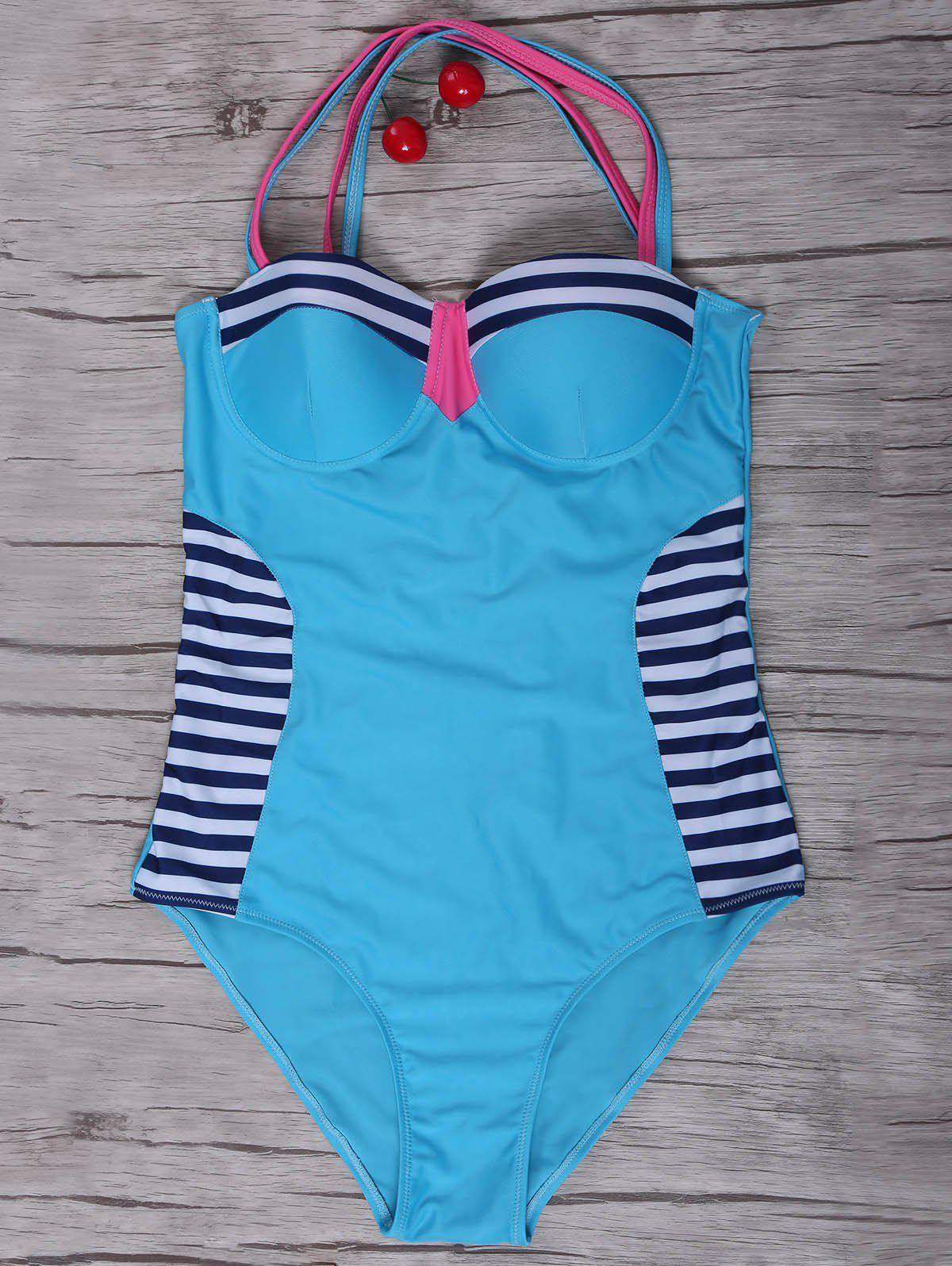 Sexy Women's Stripe Criss-Cross Swimsuit - AZURE S