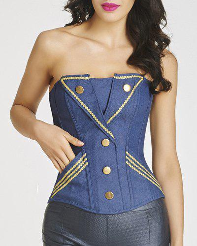 Trendy Strapless Applique Stud Embellished Denim Women's Bustier