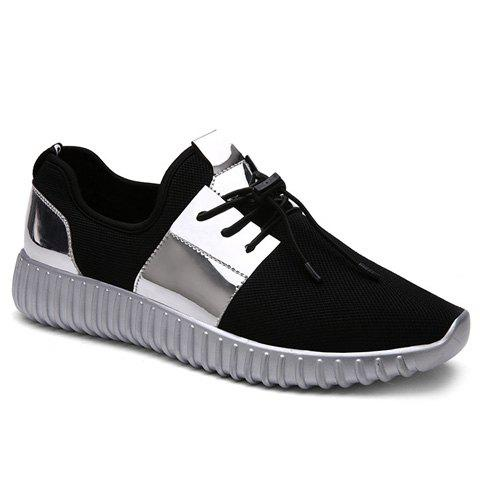Trendy Colour Block and Lace-Up Design Men's Athletic Shoes - SILVER 42