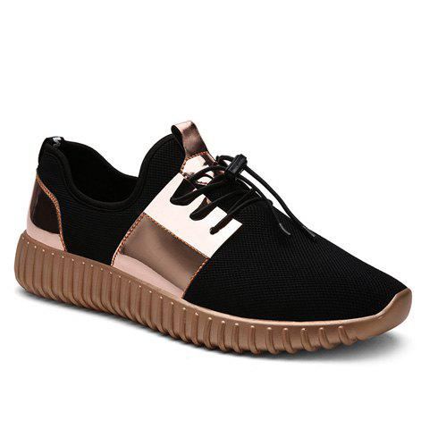 Trendy Colour Block and Lace-Up Design Men's Athletic Shoes - GOLDEN 40