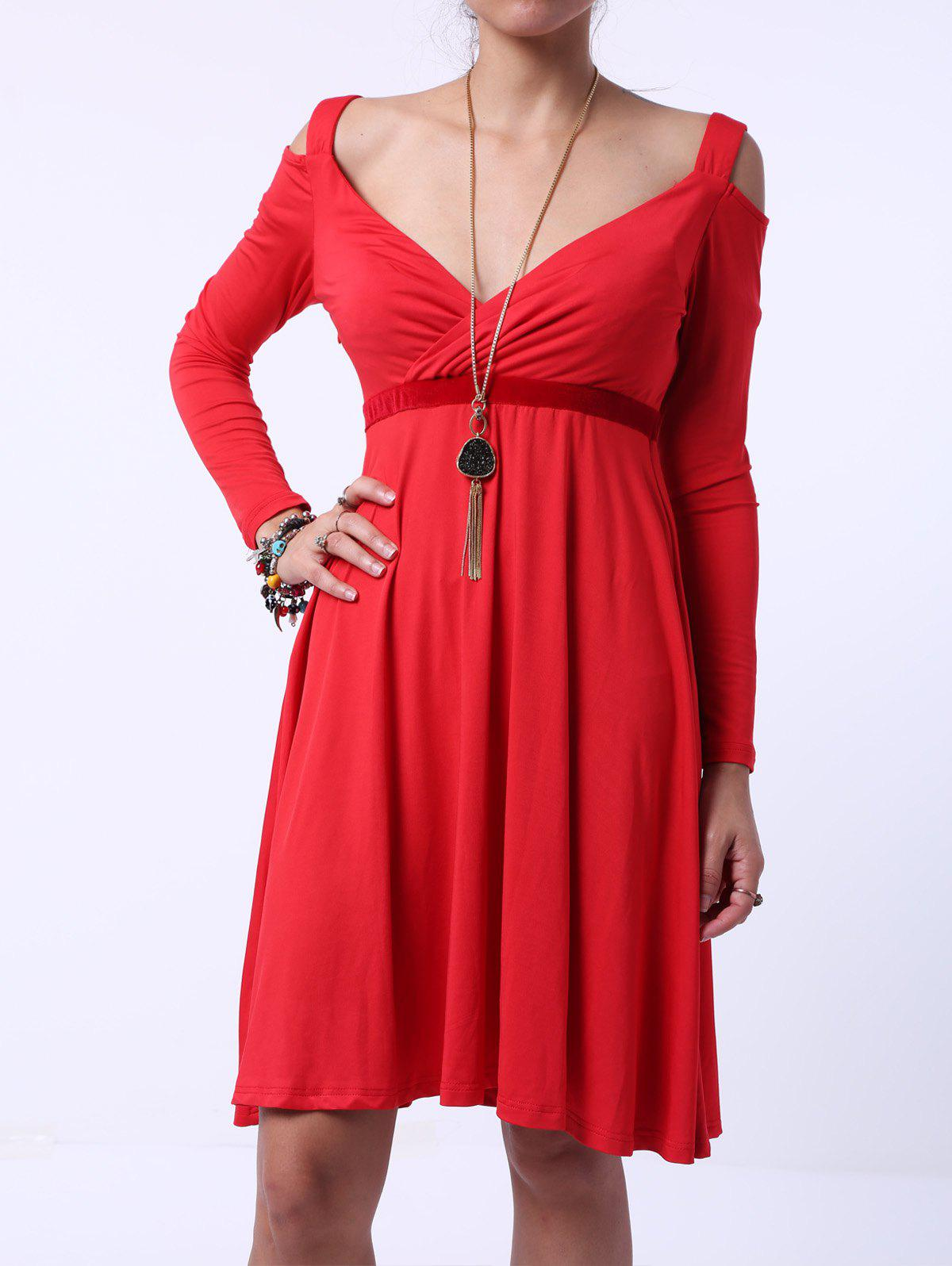 Graceful Sweetheart Neck Shoulder Cut Out Long Sleeve Midi Dress For Women - RED 5XL
