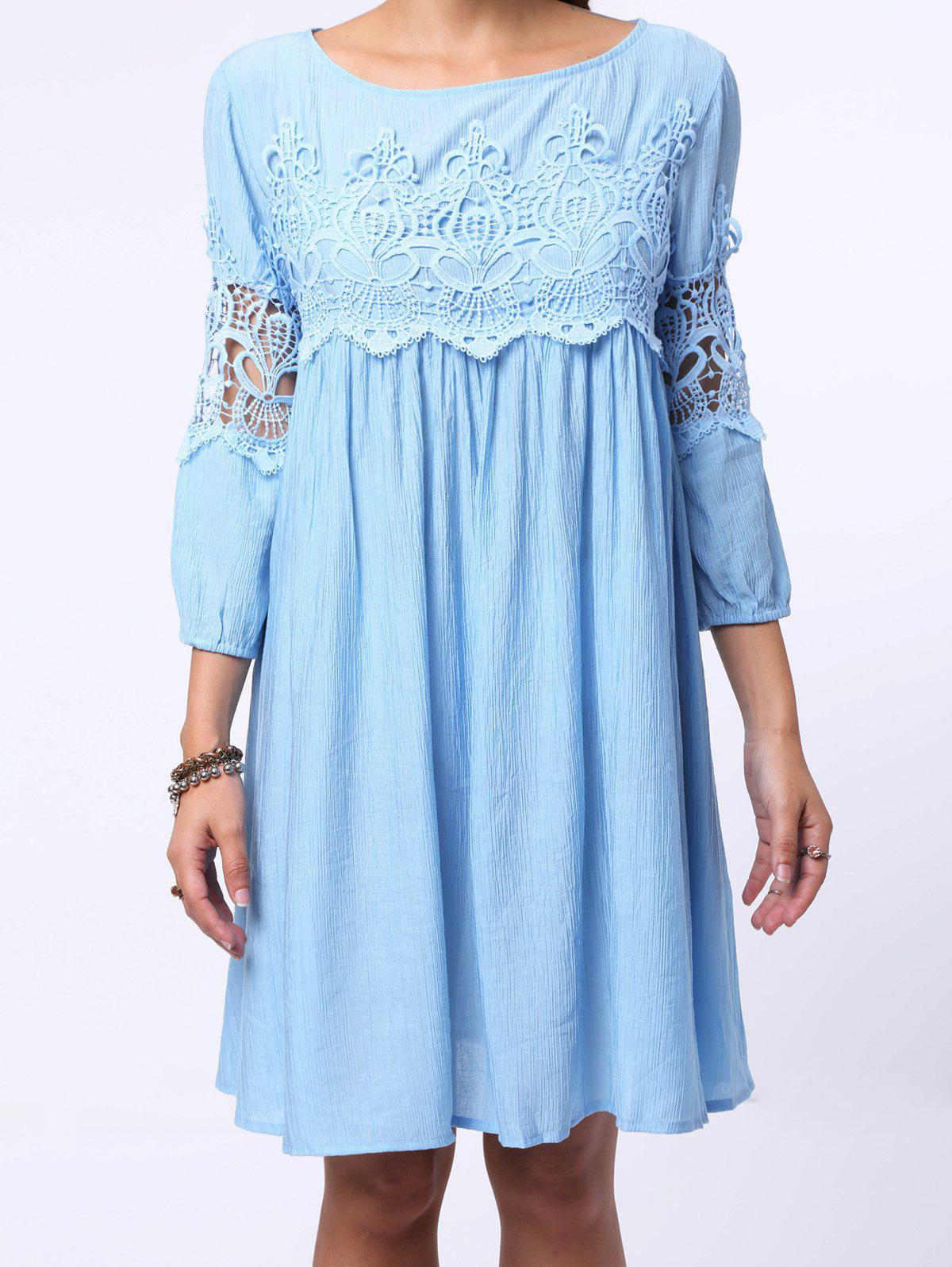 Chic Round Neck 3/4 Sleeve Pure Color Cut Out Women's Dress - LIGHT BLUE L