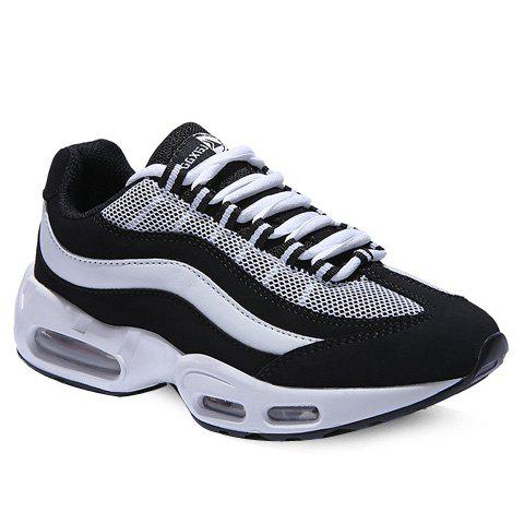 Stylish Color Matching and Splicing Design Men's Athletic Shoes - WHITE/BLACK 43