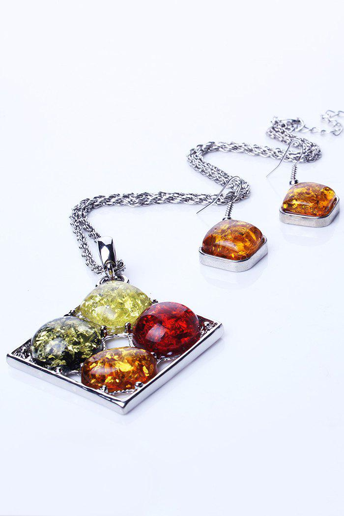 Chic Faux Amber Pendant Necklace and Earrings For Women - SILVER
