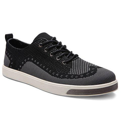 Stylish Lace-Up and Color Matching Design Men's Casual Shoes - BLACK/GREY 42