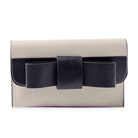Sweet Chain and Bow Design Women's Crossbody Bag - GRAY