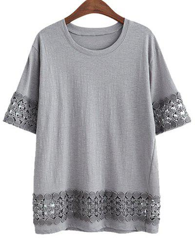 Plus Size Stylish Round Neck Short Sleeve Laciness Loose Women's T-Shirt - GRAY 3XL