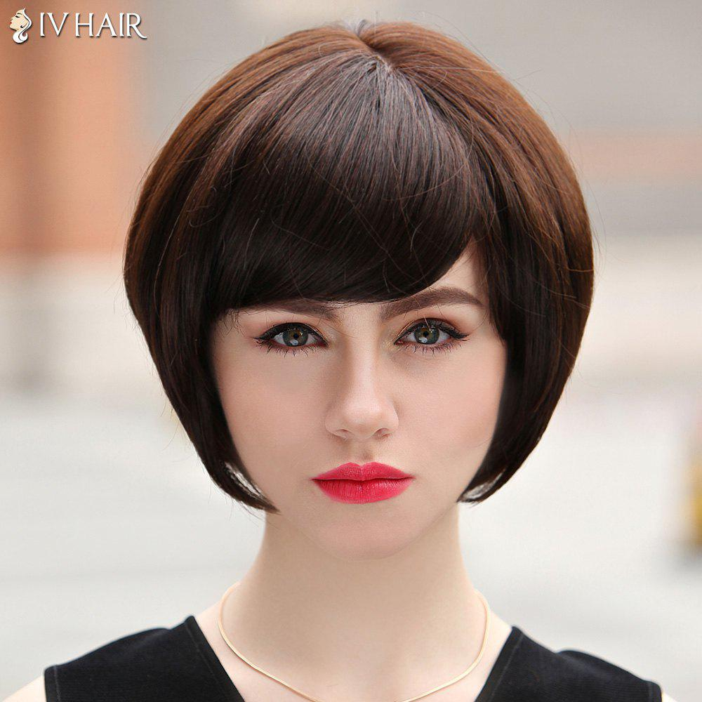 Bob Style Straight Siv Hair Sweet Short Women's Capless Real Human Hair Wig - MEDIUM BROWN