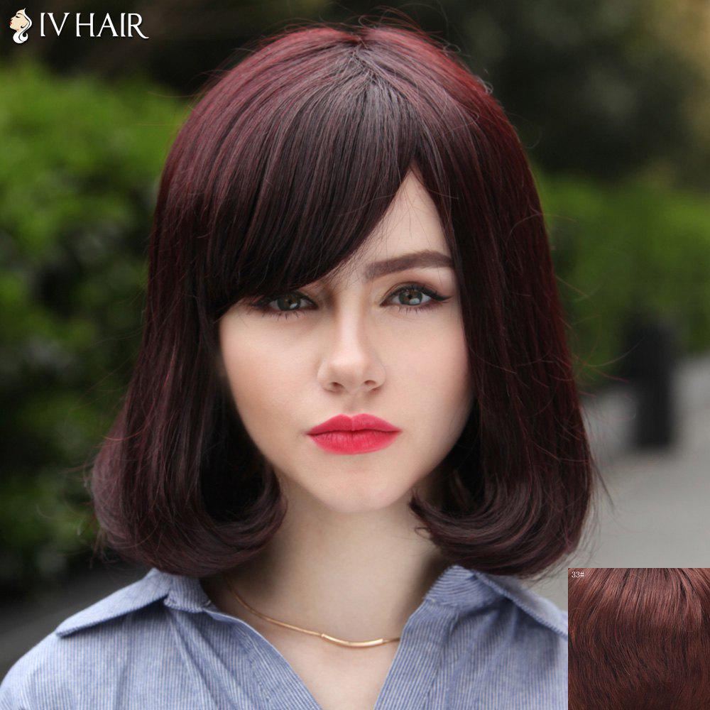 Nobby Wavy Tail Adduction Capless Siv Hair Medium Human Hair Wig For Women - DARK AUBURN BROWN