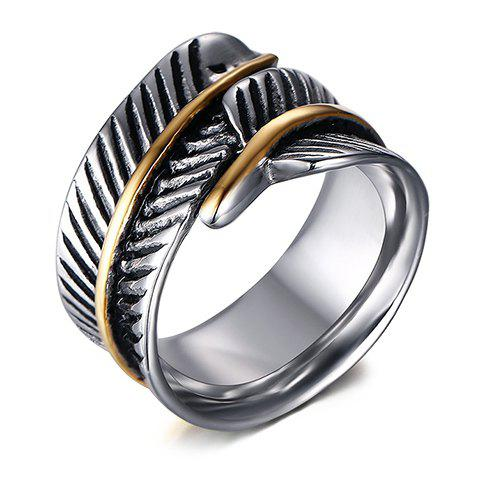 Alloy Feather Shape Ring - SILVER ONE-SIZE