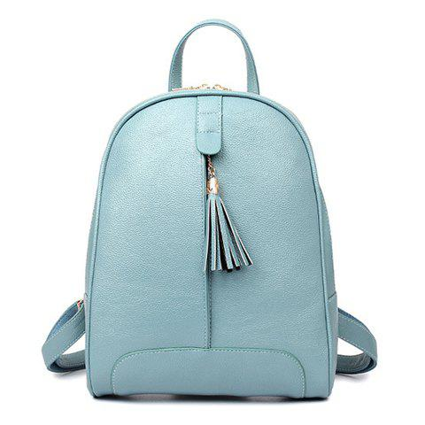 Fashion Tassel and Solid Color Design Women's Satchel - LIGHT BLUE