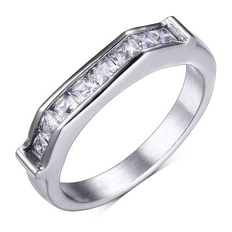 Rhinestone Stainless Steel Ring - SILVER ONE-SIZE
