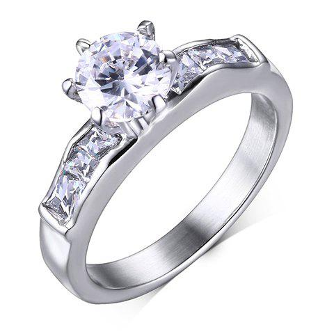 Stainless Steel Rhinestone Ring - SILVER ONE-SIZE