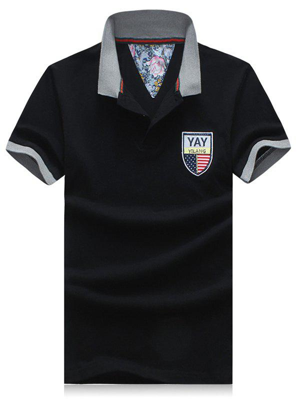 Men's Plus Size Turn-Down Collar Badge Embroidered Color Block Spliced Short Sleeve Polo T-Shirt - BLACK 2XL