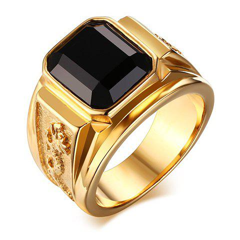 Stunning Rhinestone Stainless Steel Ring For Men - BLACK ONE-SIZE