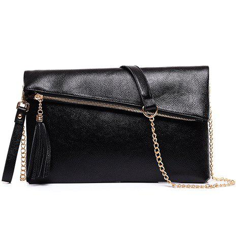 Sweet Tassel and Solid Color Design Women's Crossbody Bag - BLACK
