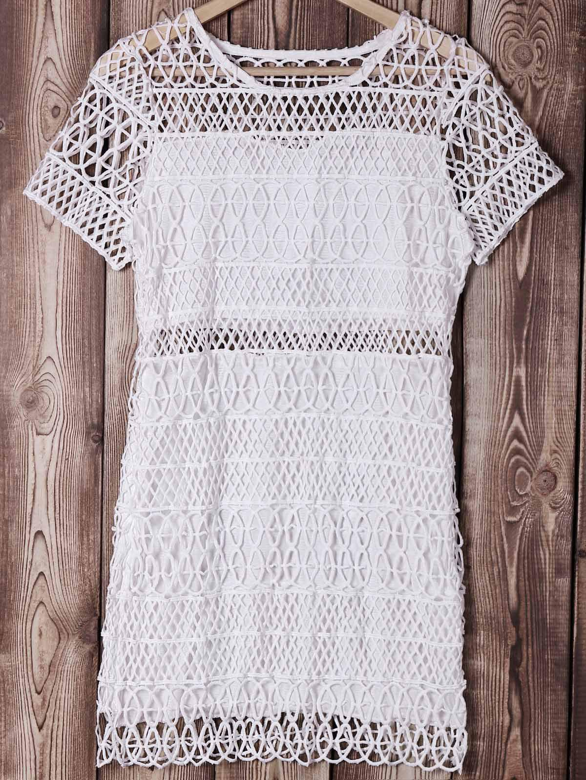 Sweet Round Neck Short Sleeves Bodycon Openwork Women's Dress - S WHITE