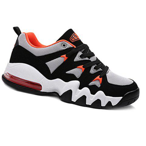 Fashionable Colour Matching and Splicing Design Men's Athletic Shoes - BLACK/ORANGE 44
