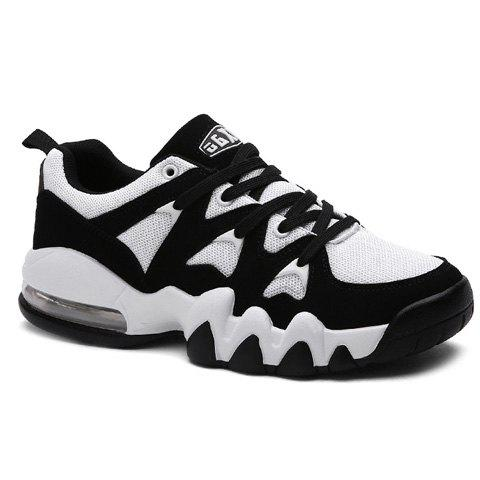 Fashionable Colour Matching and Splicing Design Men's Athletic Shoes - WHITE/BLACK 42