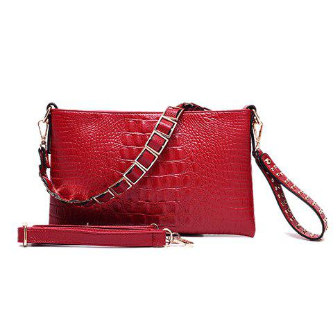 Casual Embossing and Rivets Design Women's Clutch Bag - RED