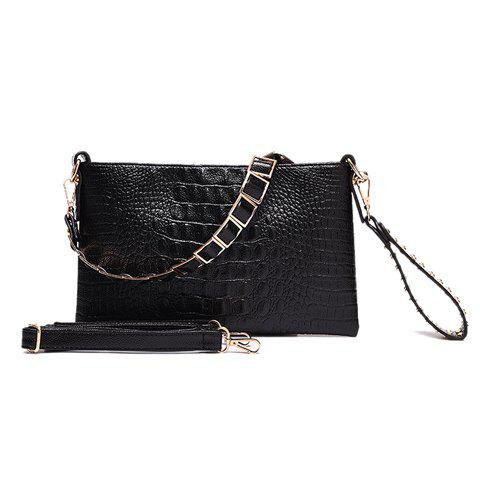 Casual Embossing and Rivets Design Women's Clutch Bag - BLACK