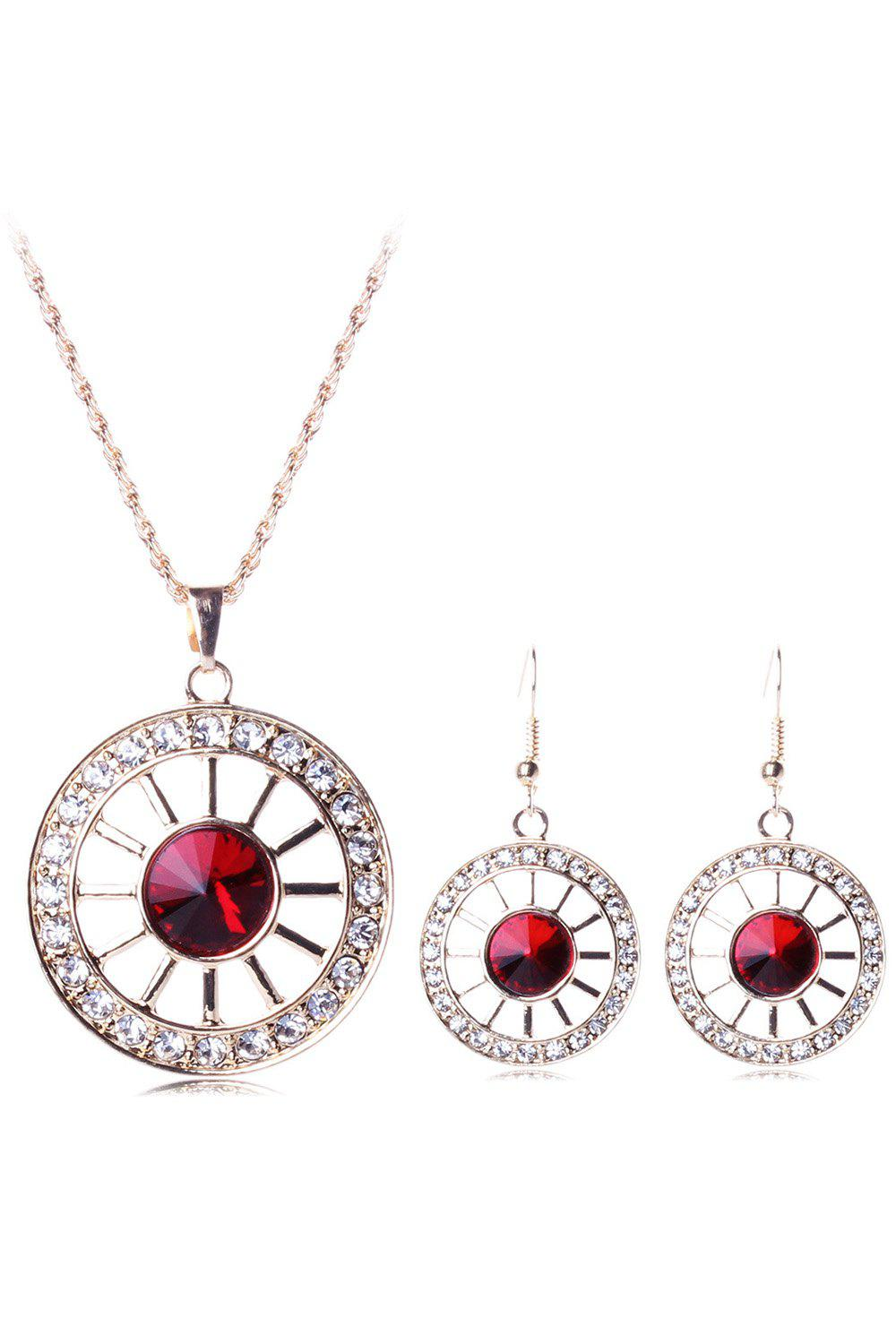 Chic Rhinestone Wheel Necklace and Earrings For Women