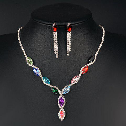 A Suit of Delicate Faux Gem Rhinestone Oval Necklace and Earrings For Women