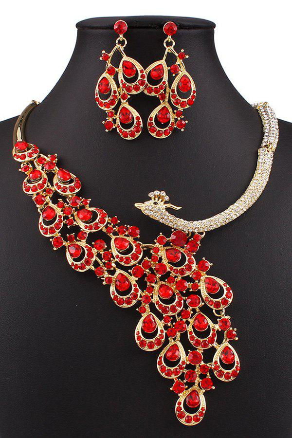 Faux Ruby Peacock Necklace and Earrings - RED