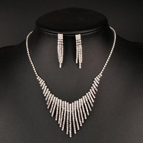 A Suit of Rhinestoned Irregular Fringed Necklace and Earrings - SILVER