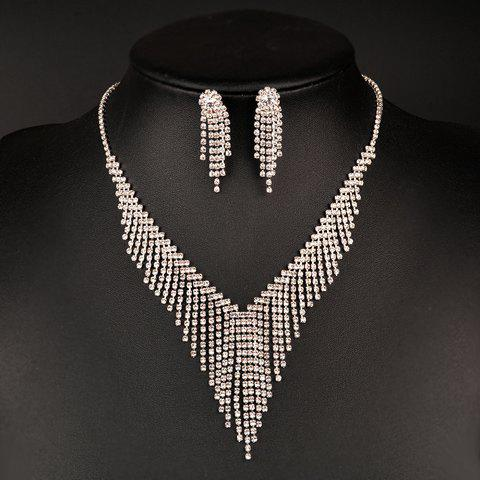 A Suit of Gorgeous Rhinestoned Tassel Triangle Necklace and Earrings For Women
