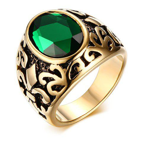 Chic Engraved Faux Gem Ring Jewelry For Men