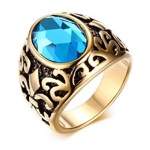 Chic Engraved Faux Gem Jewelry Ring For Men - BLUE ONE-SIZE