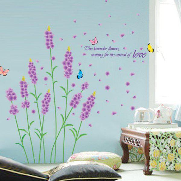 Chic Lavender Pattern Wall Sticker For Bedroom Livingroom Decoration -  COLORMIX