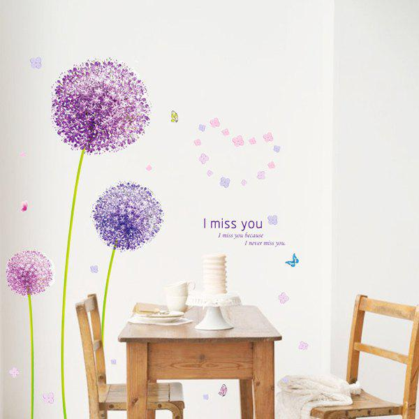 Chic Purple Dandelion Pattern Wall Sticker For Bedroom Livingroom Decoration