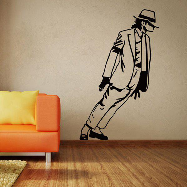 Chic Michael Jackson Pattern Wall Sticker For Bedroom Livingroom Decoration - BLACK