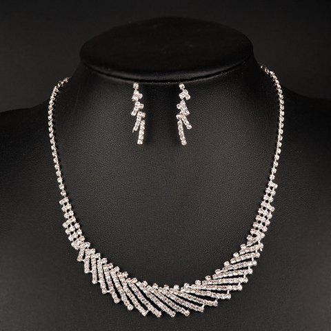 A Suit of Rhinestoned Hollow Out Necklace and Earrings - SILVER