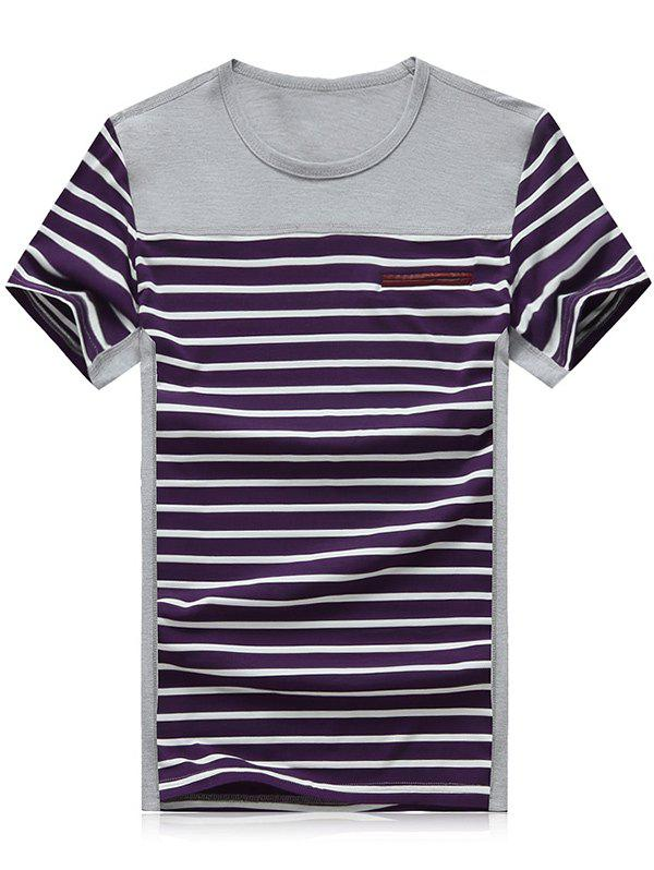 Men's Plus Size Color Block Splice Red and White Stripe Round Neck Short Sleeve T-Shirt - PURPLE 2XL