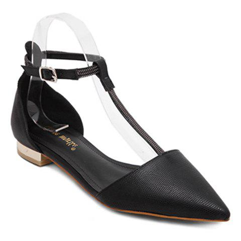 Stylish T-Strap and Pointed Toe Design Women's Flat Shoes