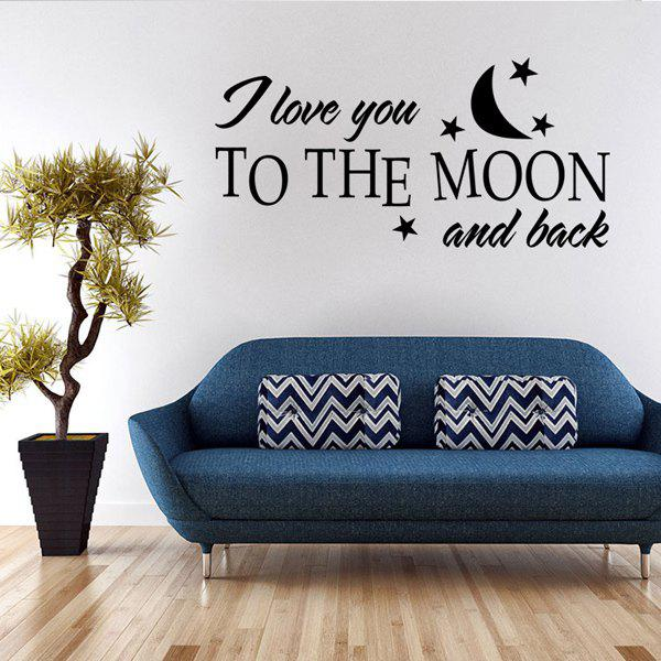 Chic Moon and Letters Pattern Wall Sticker For Bedroom Livingroom Decoration moon and sixpence