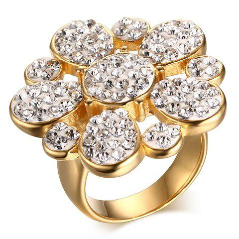 Rhinestone Floral Ring - GOLDEN ONE-SIZE