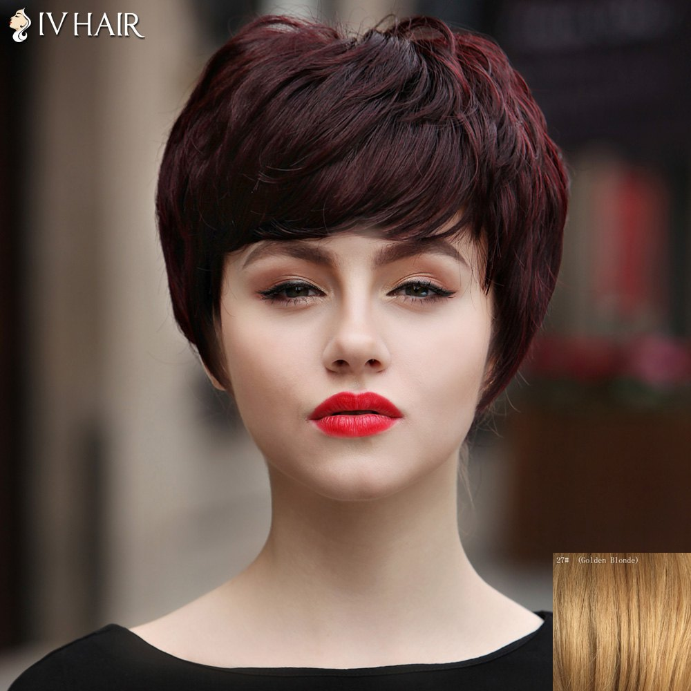 Attractive Short Human Hair Capless Fluffy Straight Full Bang Women's Siv Hair Wig