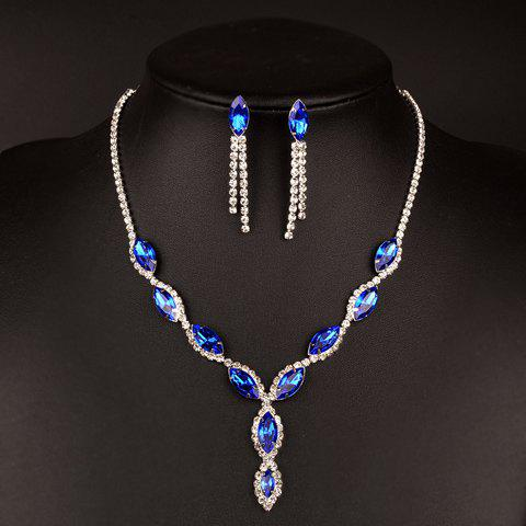 A Suit of Faux Sapphire Rhinestoned Necklace and Earrings - BLUE