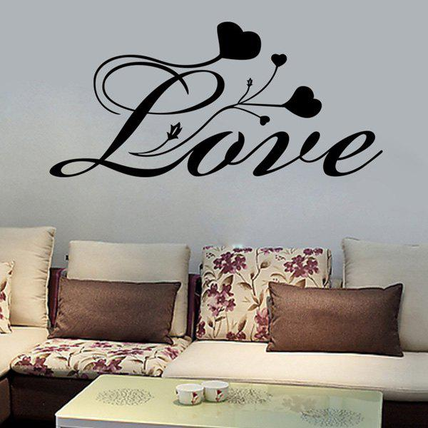 Chic Love Hearts Pattern Wall Sticker For Bedroom Livingroom Decoration - BLACK