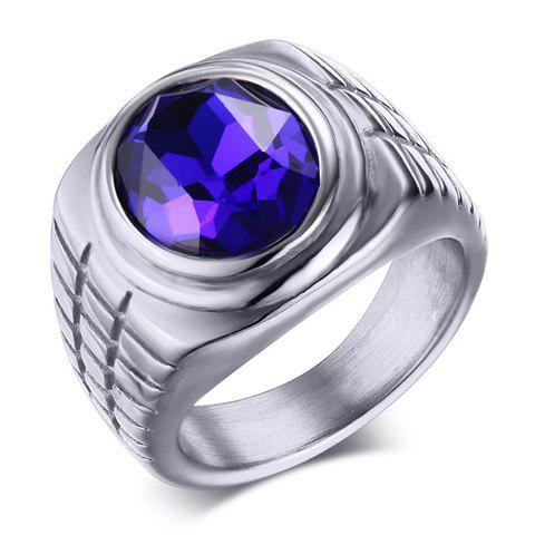 Delicate Faux Sapphire Jewelry Ring For Men - SILVER ONE-SIZE