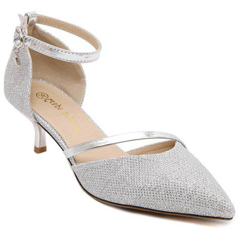 Stylish Sequined Cloth and Two-Piece Design Women's Pumps - SILVER 39