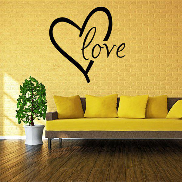 Chic Heart Love Pattern Plane Wall Sticker For Bedroom Livingroom Decoration - BLACK